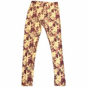 Lularoe Leggings Floral Print High Rise Yellow OS